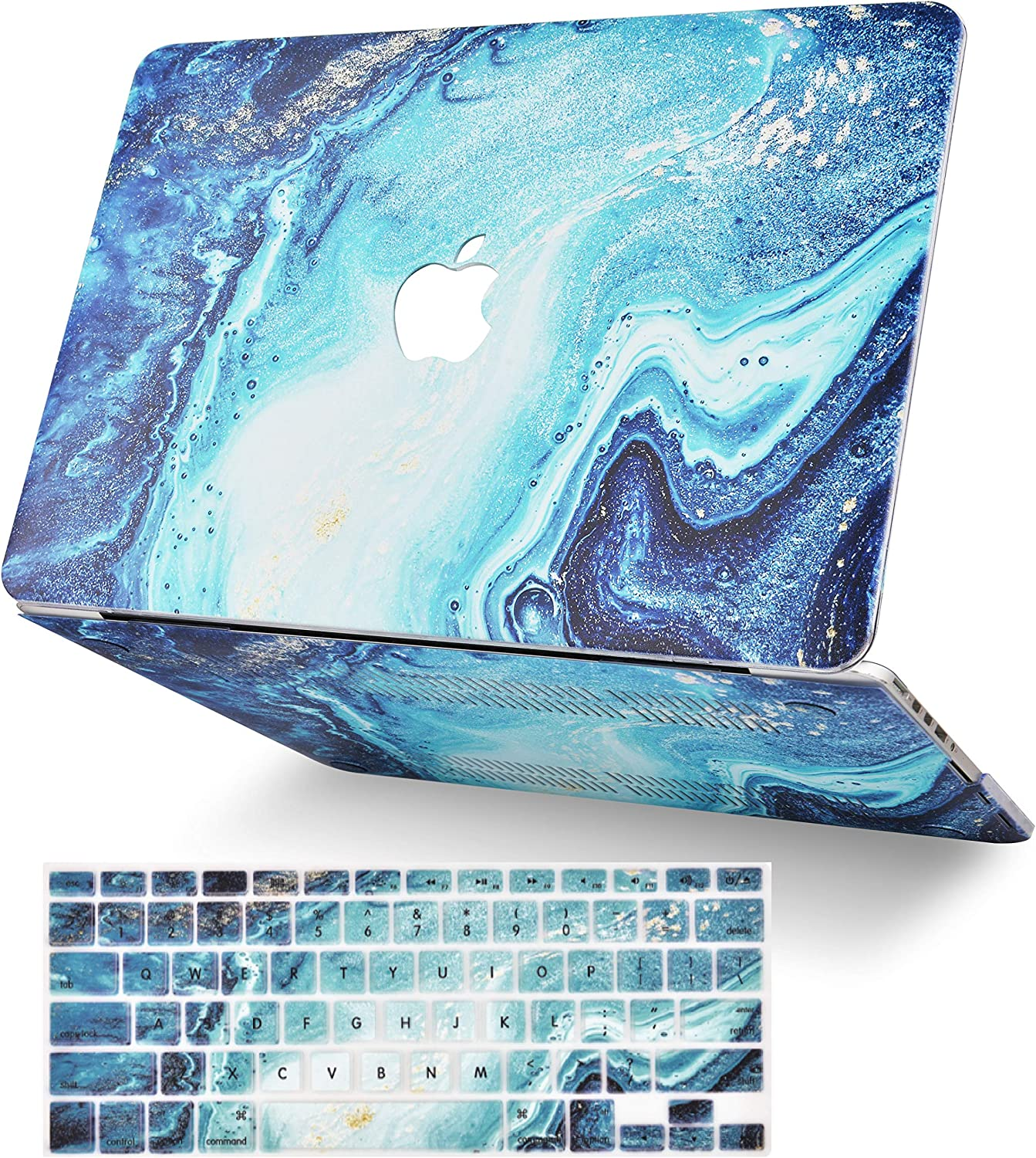 LuvCase 2 in 1 Laptop Case for MacBook Air 13 Inch A1466/A1369 (No Touch ID)(2010-2017) Rubberized Plastic Hard Shell Cover & Keyboard Cover (Ocean Marble)
