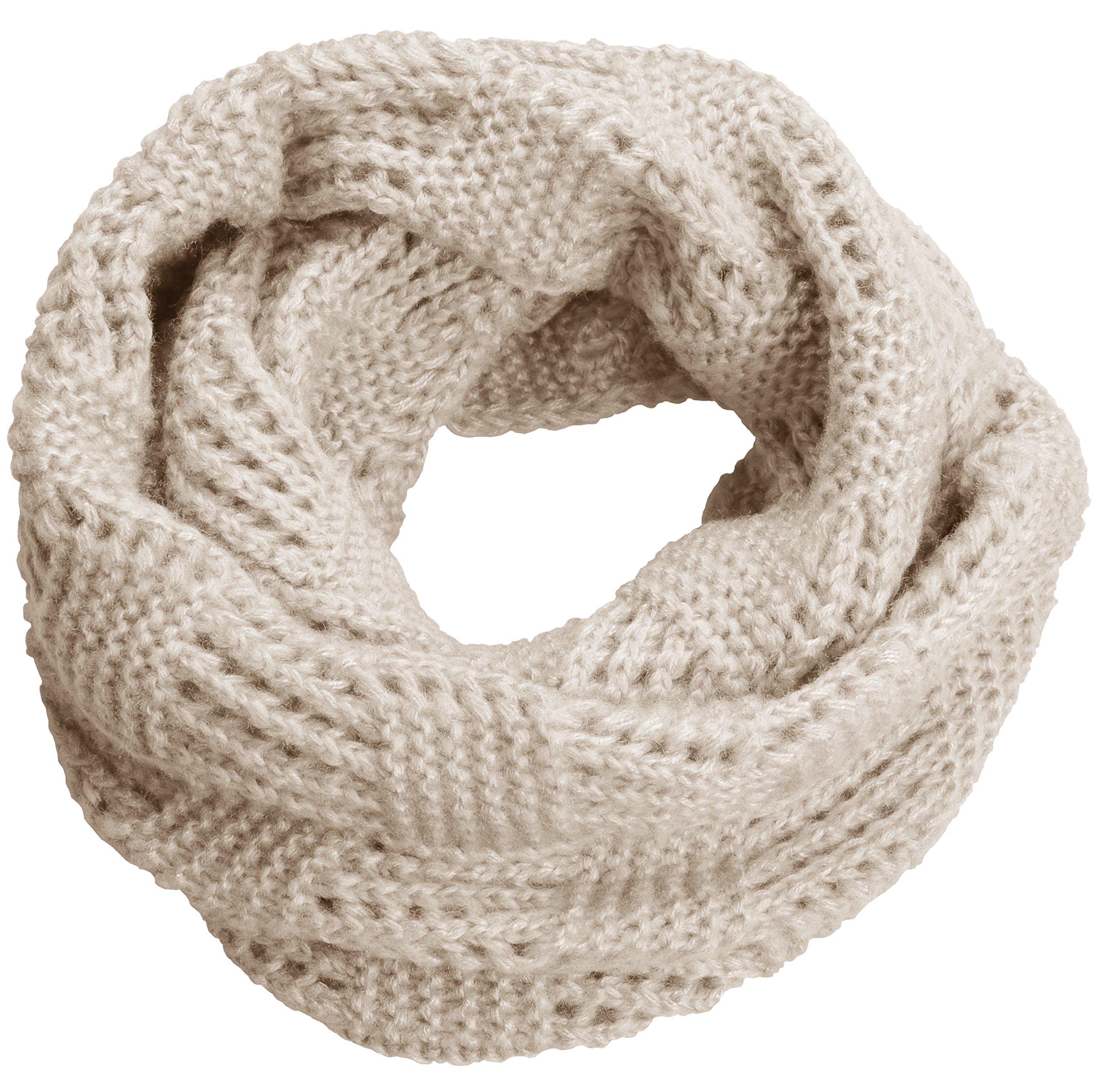 NEOSAN Women Warm Chunky Ribbed Knit Winter Infinity Loop Scarf Plaid Khaki by NEOSAN