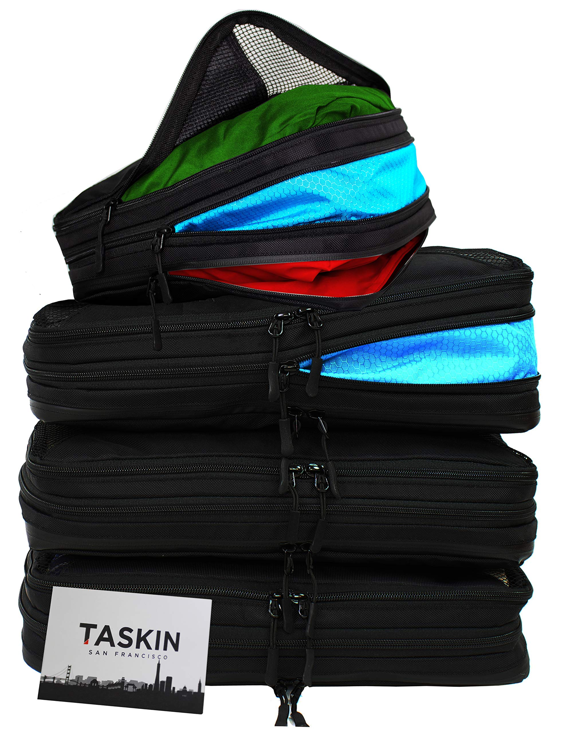 Taskin | Compression Packing Cubes | Clean & Dirty Compartments w/Flexible Separator | New Patent Pending Anti-Snag-Zipper Construction | YKK Zippers (Black | Set of 4 | 3 L + 1 S) by Taskin