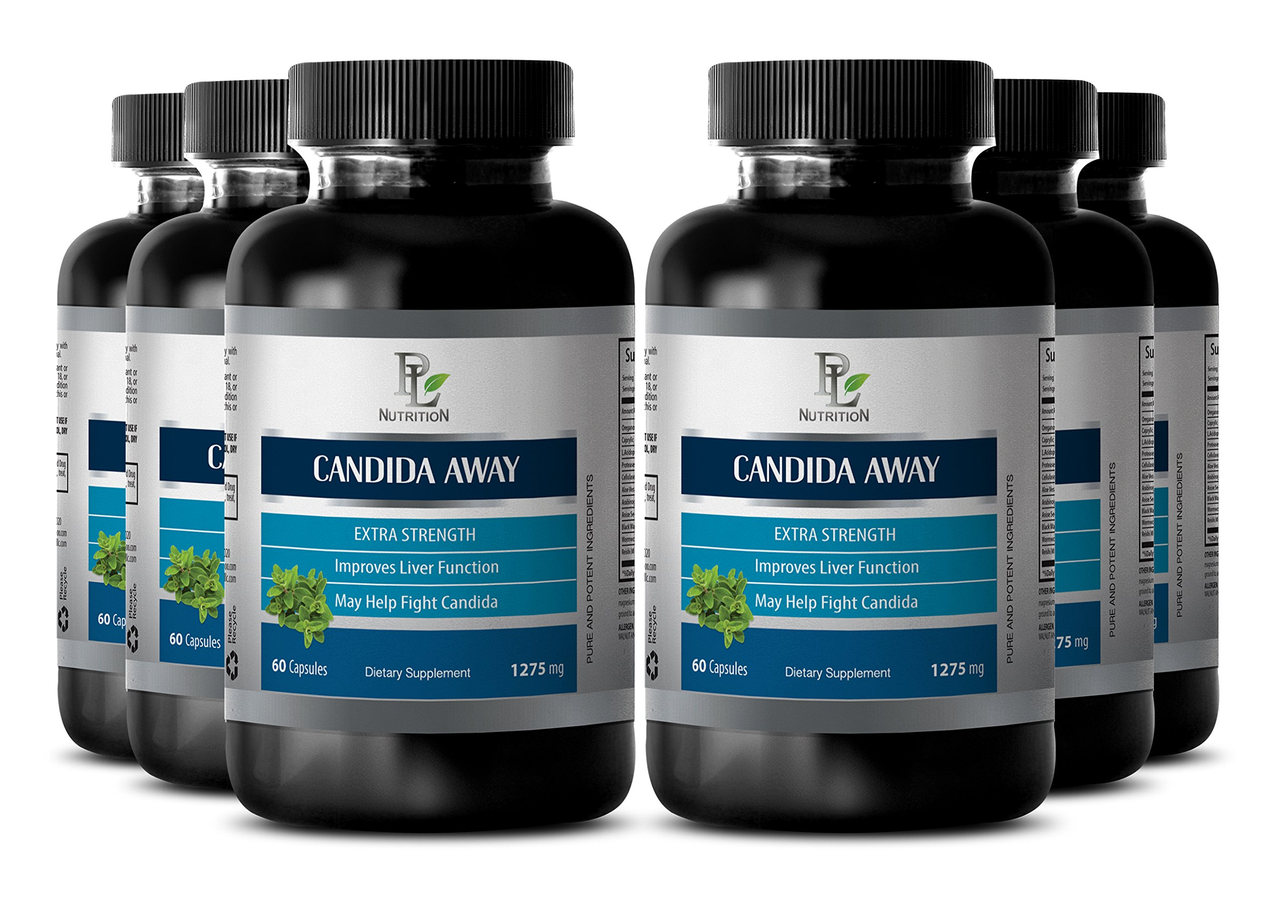 Natural detox herbs - CANDIDA AWAY Extra Strength - Candida pills for women - 6 Bottles 360 Capsules by PL NUTRITION
