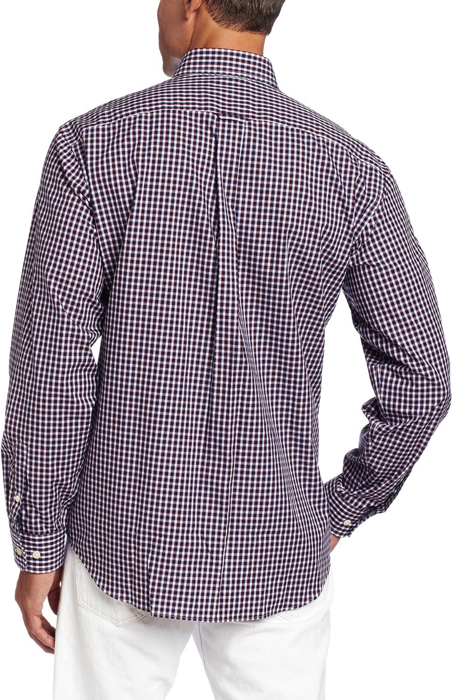 Nautica Mens Poplin Mini Plaid Long Sleeve Woven Shirt