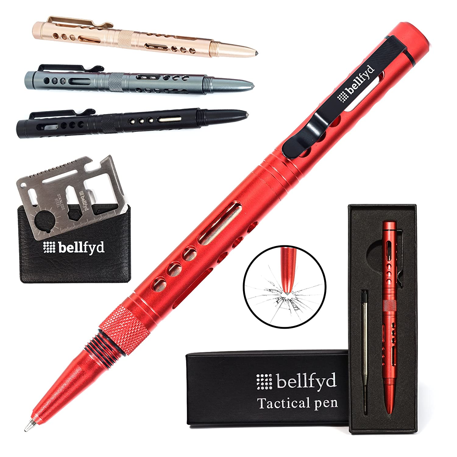 BellFyd Tactical Pen for Personal Protection and Self Defense - EDC Pen with Built-in Glass Breaker, LED Flashlight - Outdoors Survival Gear for Concealed Carry - Best Tactical Pens Holder Set XMS1306