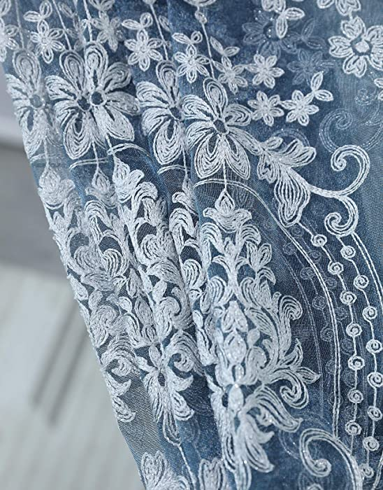 Aside Bside Victorian Design Sheer Curtain Luxurious Pattern Embroidered Rod Pocket Top Window Decoration for Living Room Bedroom and Office (1 Panel, W 50 x L 63 inch, Blue Bottom+Silver Embroidery)