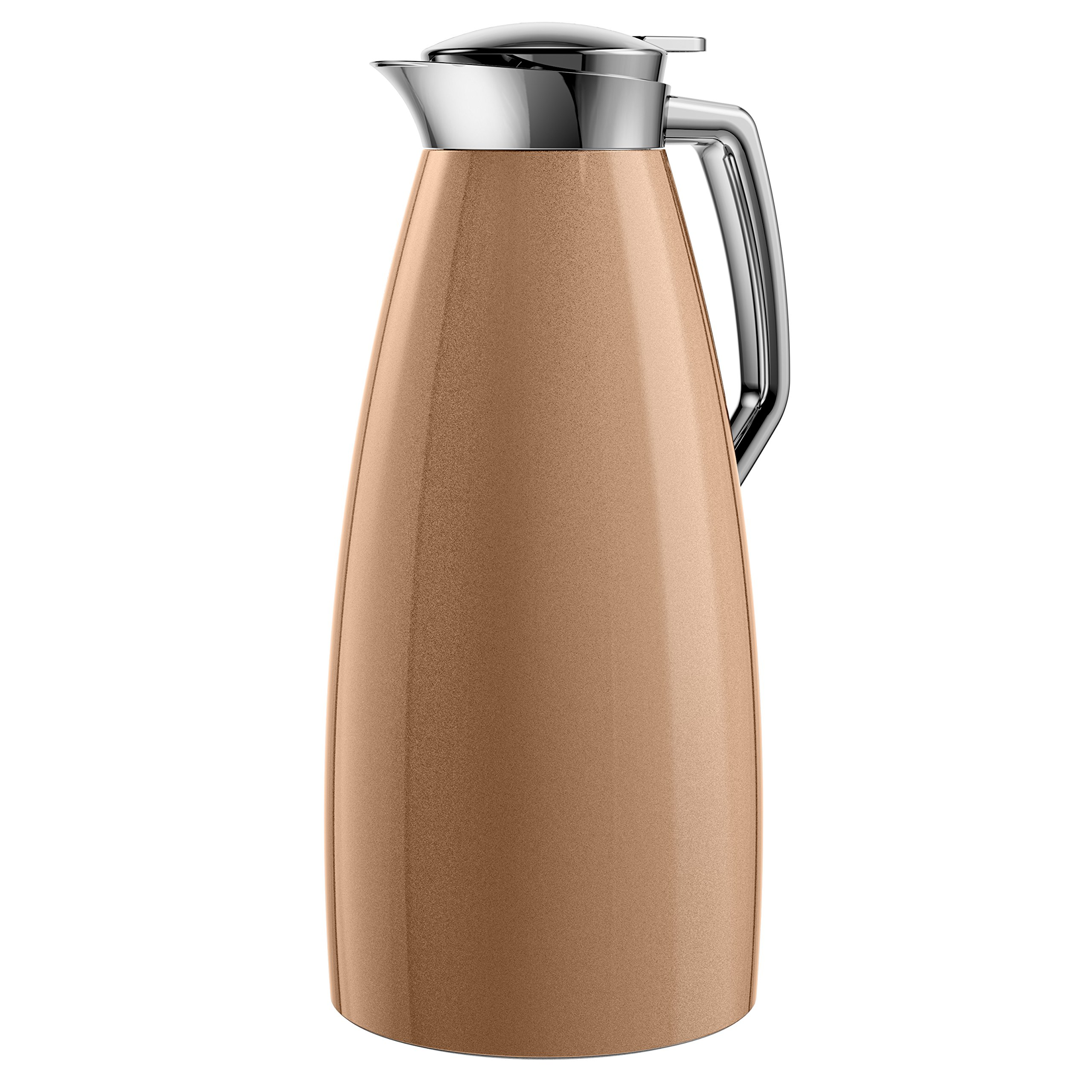 Emsa Plaza Vacuum Jug Quick Tip 1.5 L, Copper, Coffee, Tea Jug, Thermos Flask, 514377