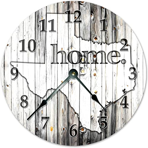 Sugar Vine Art Texas State Home Silent Non Ticking Round Battery Operated Handmade Hanging Large 15.5 Inch Wall Clock