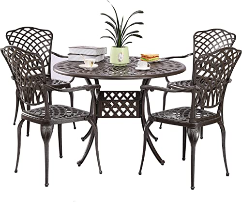 Kinger Home 5-Piece Cast Aluminum Patio Dining Set w/ 4 Chair