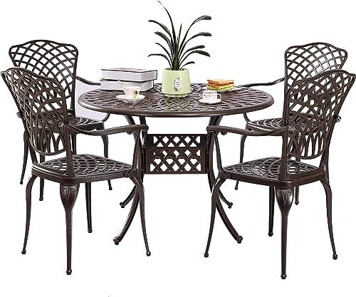 Kinger Home 5-Piece Cast Aluminum Patio Dining Set w/ 4 Chair