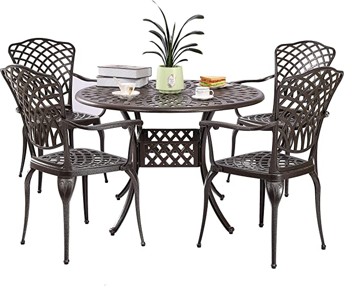 Titimo 3 Piece Outdoor Bistro Table Set Cast Aluminum Table And Chairs Patio Furniture Antique Bronze Patio Lawn Garden Patio Dining Chairs