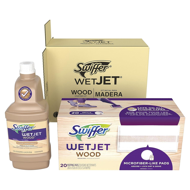 Swiffer WetJet Wood Refill Bundle for WetJet Wood Spray Mop (1 Solution Refill, 20 Mopping Pads)