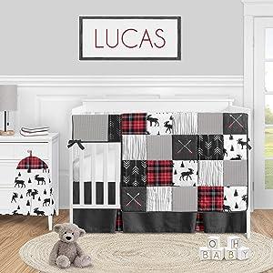 Sweet Jojo Designs Woodland Plaid Arrow Baby Boy Nursery Crib Bedding Set - 5 Pieces - Red and Black Moose Rustic Patch