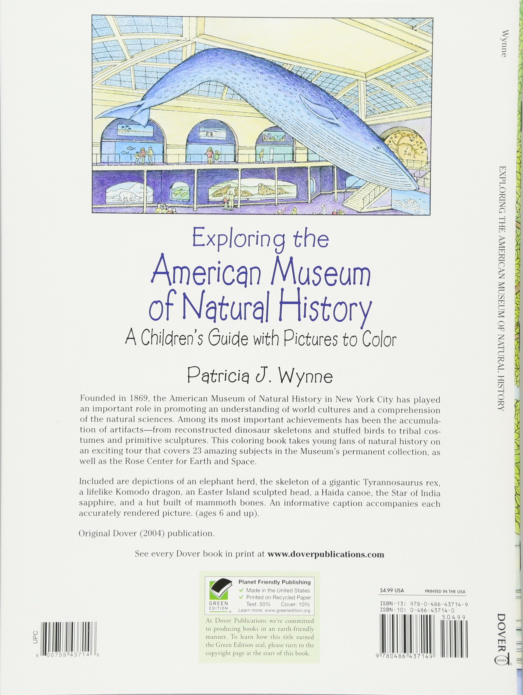 Exploring The American Museum Of Natural History A Childrens Guide With Pictures To Color Dover Nature Coloring Book Patricia J Wynne 9780486437149