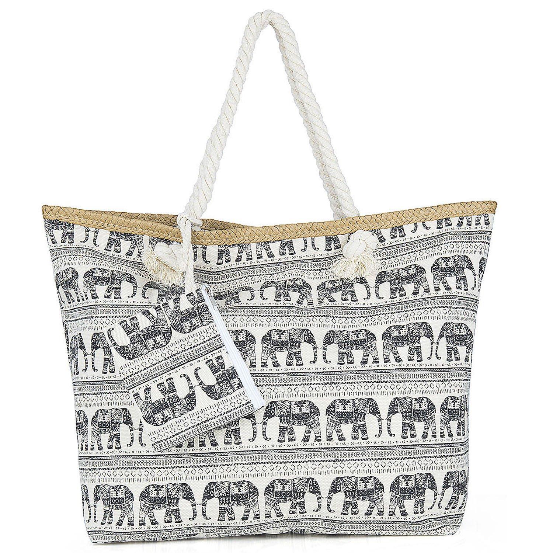 Sac de Plage Vacances Fourre-Tout Grand Avec Zip, ZWOOS Pochette sac à Main Sac de Shopping Pour Femme et Filles (Ancre)