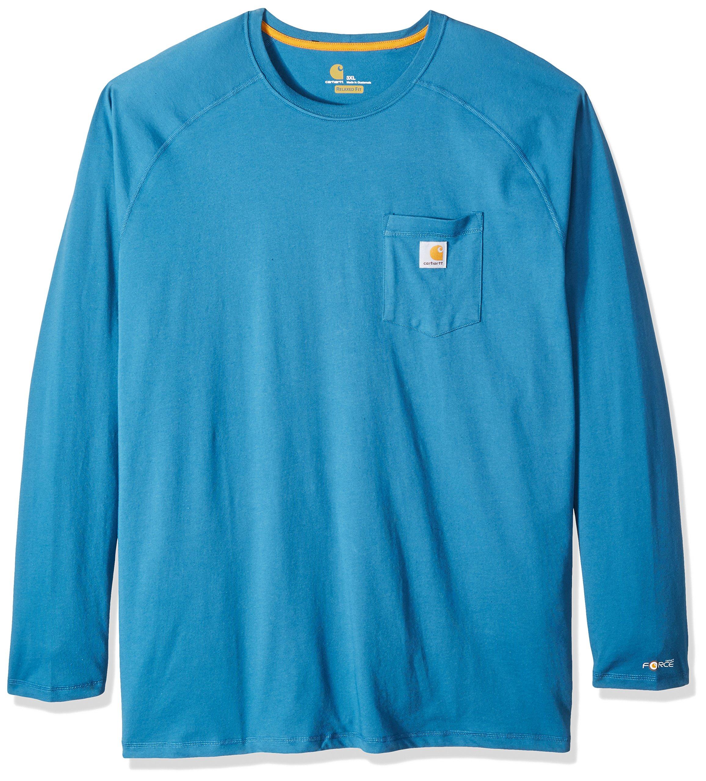 Carhartt Men's Big & Tall Force Cotton Delmont Long Sleeve T Shirt, Bay Harbor, Large/Tall