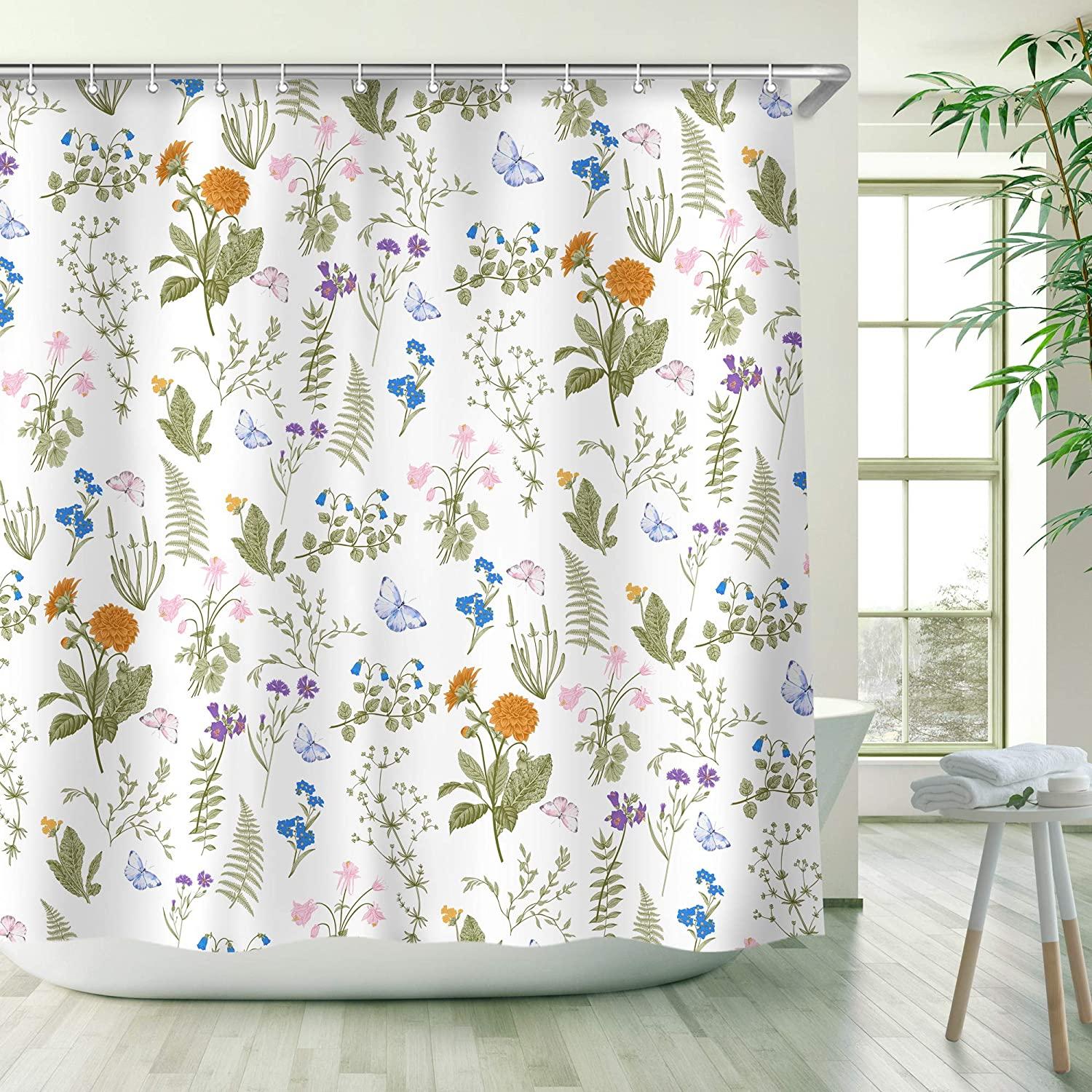 Green Leaves Shower Curtain, Floral Shower Curtain Set with Hooks,Waterproof, Decorative Bath Curtain 72