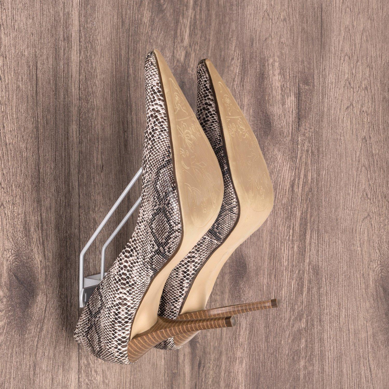 gedotec almacenaje del zapato Zapatero para atornillar An die Pared Acero Plata RAL 9006 Soporte Para Zapatos para 1 Par Botas ANCHO: 130mm Calidad De Marca ...