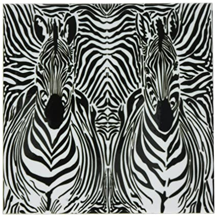 Rikki Knight Kissing Giraffes Design Art Ceramic Tile 4 by 4-Inch