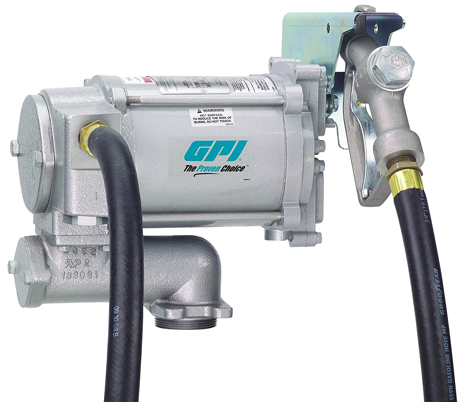 115-VAC Weight Centering Base GPI 133200-1 0.75-Inch X 12-Foot Hose 20 GPM M-3120-ML High Flow Cast Iron Fuel Transfer Pump Manual Nozzle