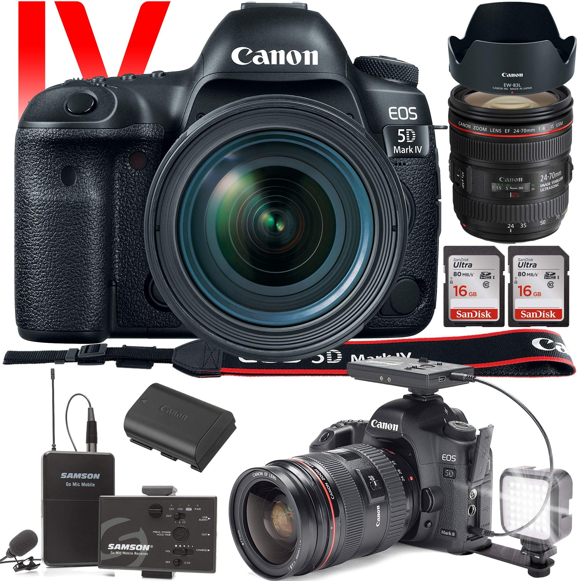 Canon EOS 5D Mark IV DSLR Camera with 24-70mm f/4L Lens (International Version) - Wireless Microphone System for Vlog and Interviews