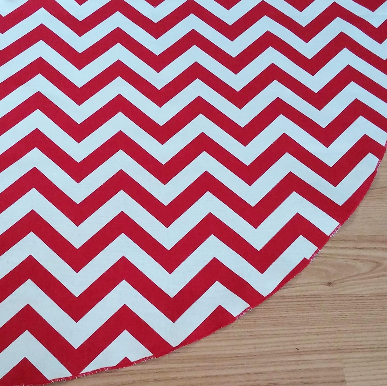 Medium Chevron Red Holiday Tree Skirt - American Made, ZigZag Stripe