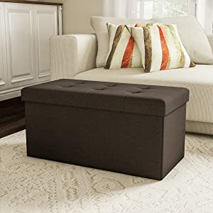 Lavish Home 80-FOTT-6 Large Folding Storage Bench Ottoman – Tufted Cube Organizer Furniture with Removable Bin for Home, Bedroom, Living Room (Brown),