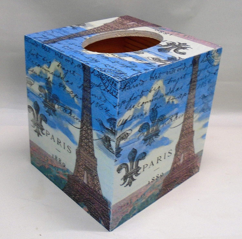 Paris Rose Tissue Box Cover cube wooden decoupaged handmade