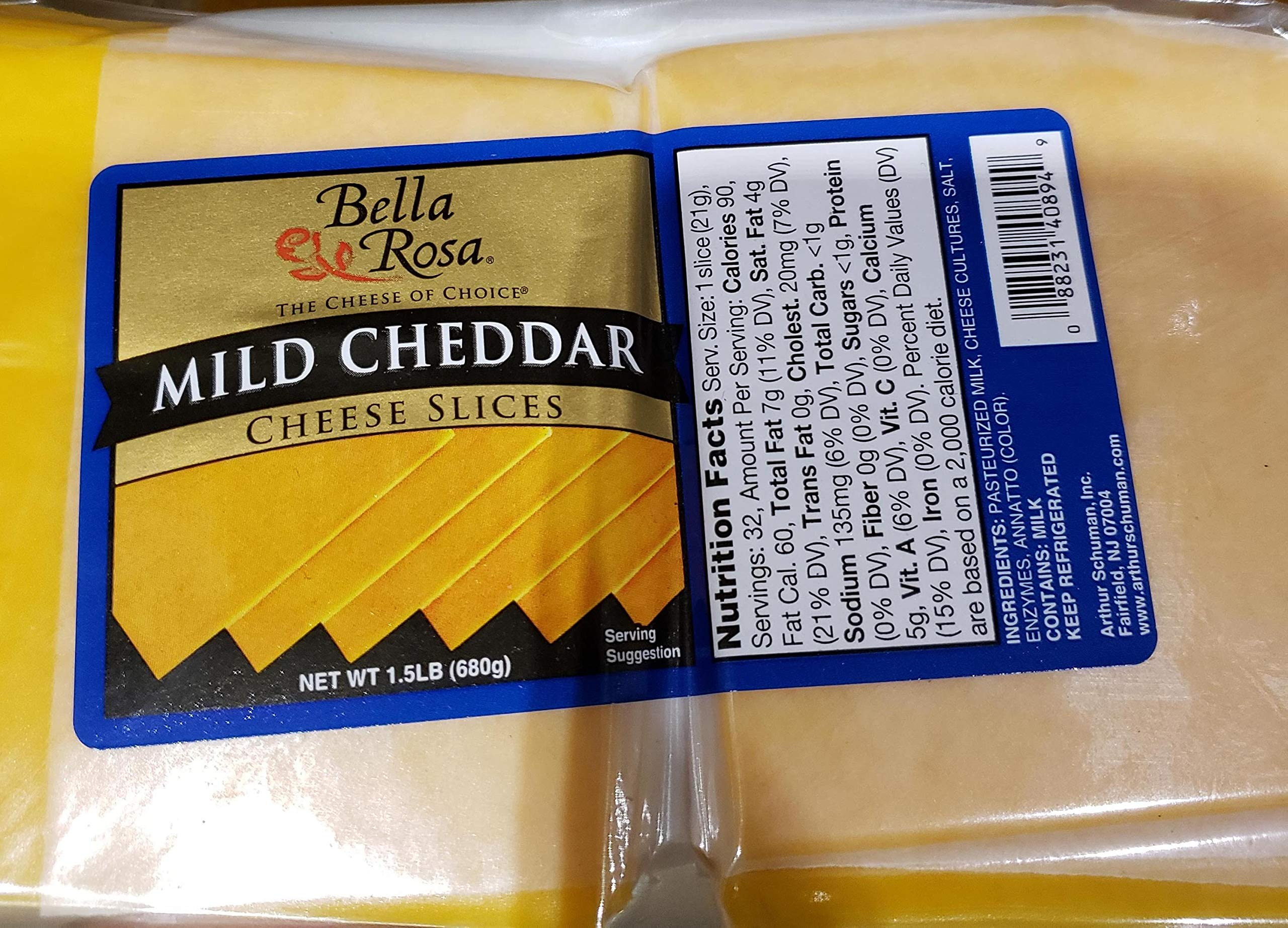 Bella Rosa Mild Cheddar Cheese Slices 1.5lbs (680gr)