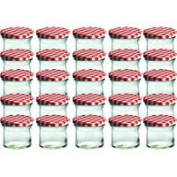 Cap+Cro To 66 Lot de 25 bocaux en verre pour conservation de confiture Couvercles rouges à carreaux Capacité 125 ml