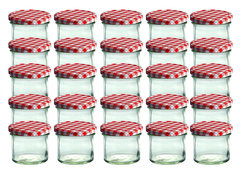 Set da 25 vasetti in vetro, per marmellate e conserve, 125 ml, coperchio avvitabile a quadretti rossi, 66 mm CapCro