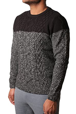 09de4f1d6bd2 Mens Jumper Tokyo Laundry Stuey Casual Sweater Chunky Cable Knit Panel  1A4710 Black S  Amazon.co.uk  Clothing