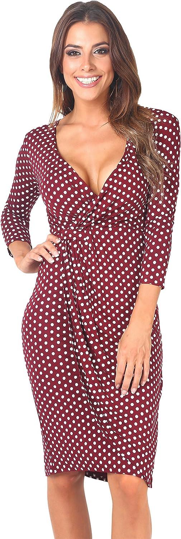 TALLA 48. KRISP Vestido Moda Mujer Fruncido Granate (6487)