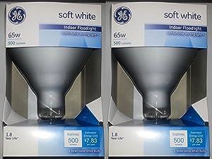 GE 65 Watt Soft White Floodlight BR40 Light Bulb, 2-Pack