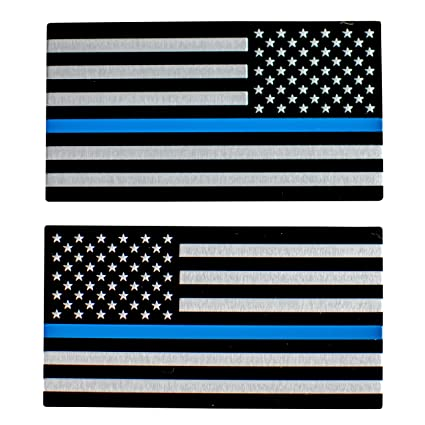 ALUMINUM Thin Blue Line Sticker Decal Blue Lives Matter Police Officer Cop 3M