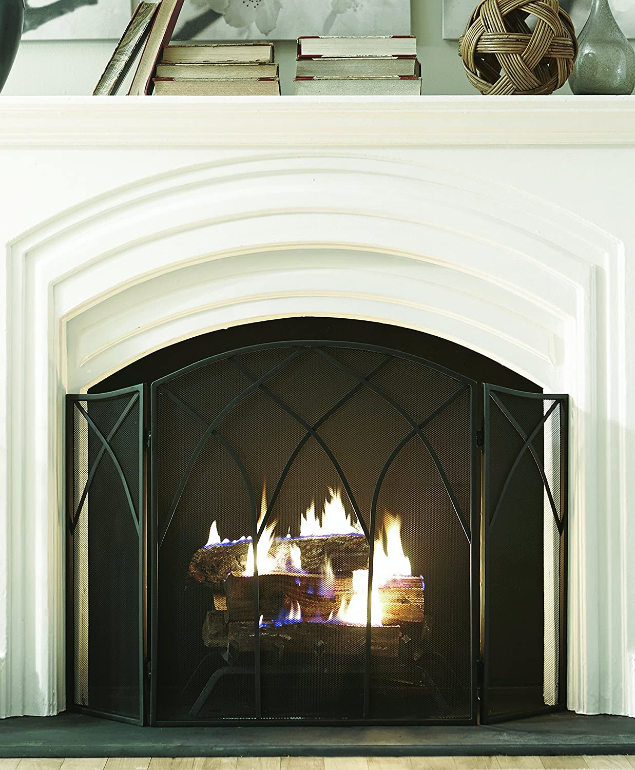 amazon com pleasant hearth gothic fireplace screen home u0026 kitchen