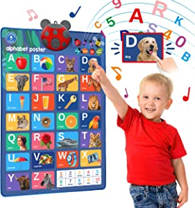 LEARNING BUGS Interactive ABC & 123s Talking Poster & Musical Wall Chart, Best Educational Toy for 2 Year olds and 3 Year olds. Electronic Toddler Toys for Boys & Girls.