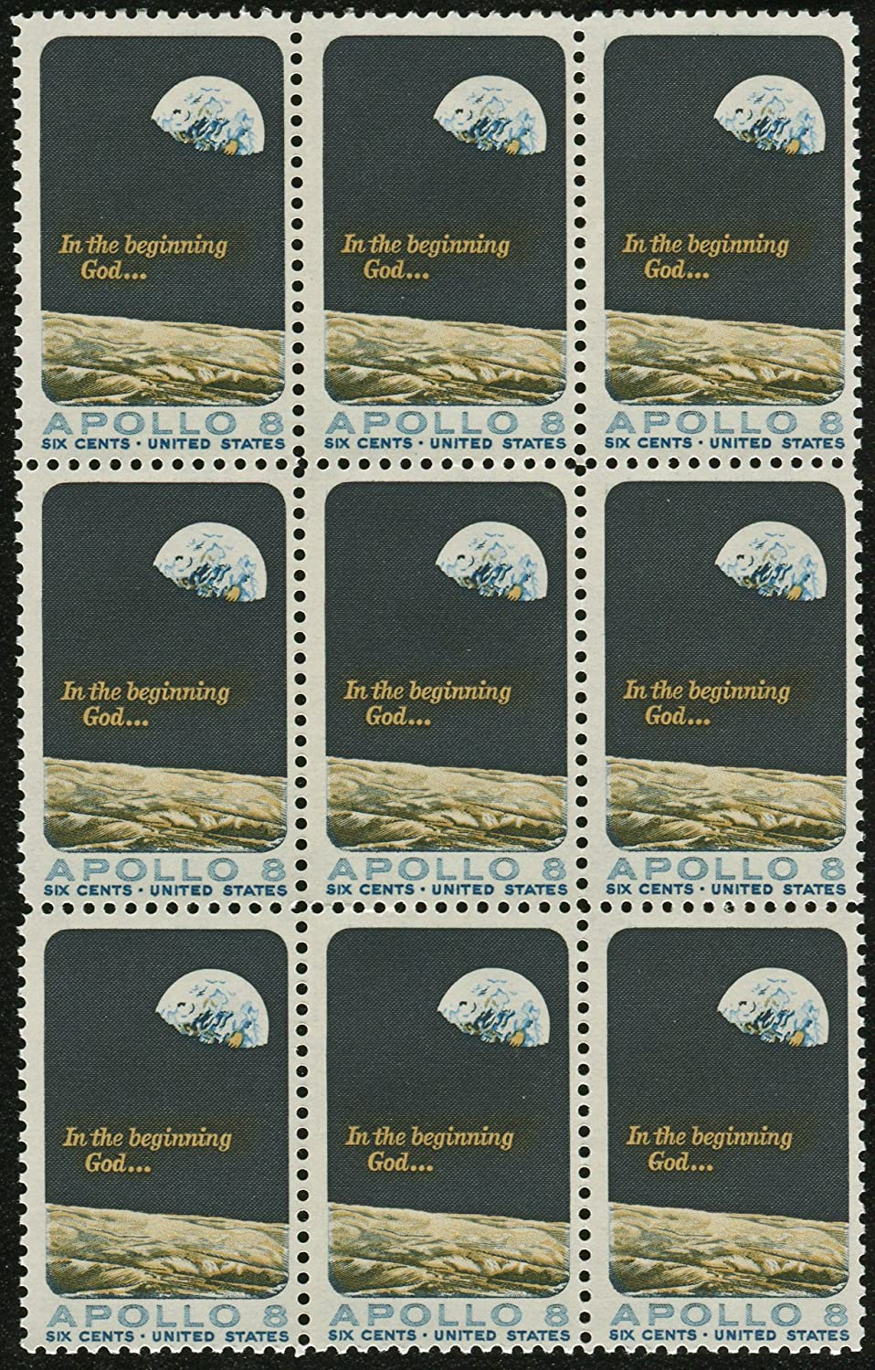 EARTH RISE ~ APOLLO 8 ~ FIRST HUMAN SPACE FLIGHT ~ MOON ~ EARTH #1371 BLOCK OF 9 X 6 US Postage Stamps