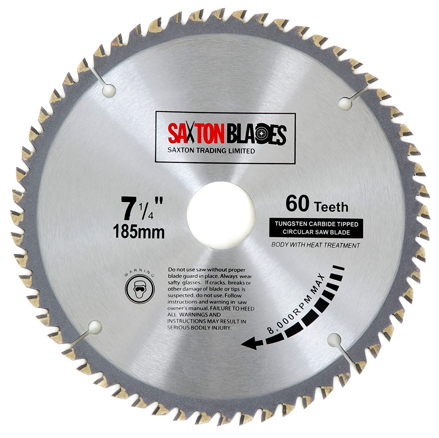 Tct18560t saxton tct circular wood saw blade 185mm x 30mm x bore x tct18560t saxton tct circular wood saw blade 185mm x 30mm x bore x 60t for bosch makita dewalt fits 190mm saws amazon diy tools greentooth Choice Image