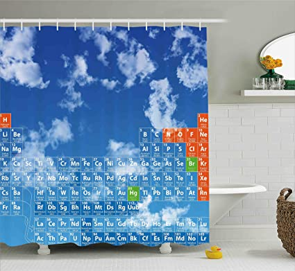 Ambesonne Science Shower Curtain Clear Open Sky With Clouds And Chemistry Table For Kids Smart