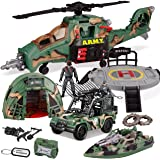 9-in-1 Jumbo Combat Helicopter Toys with Lights and Sounds Include Realisc Army Helicopter, Landing Platform, Military…