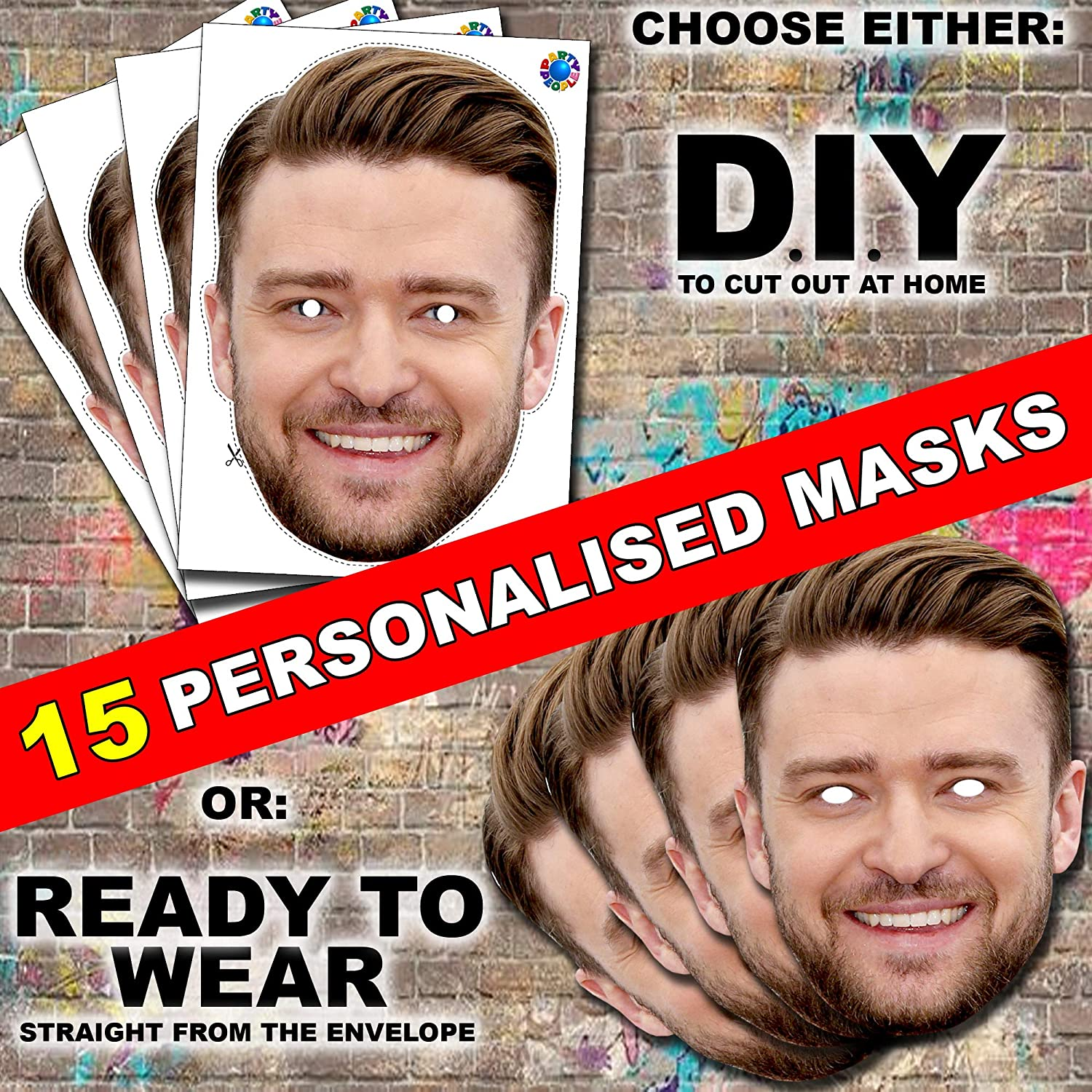 27 x PERSONALISED PHOTO FACE MASKS KITS FOR STAG /& HEN NIGHT AND BIRTHDAY PARTY