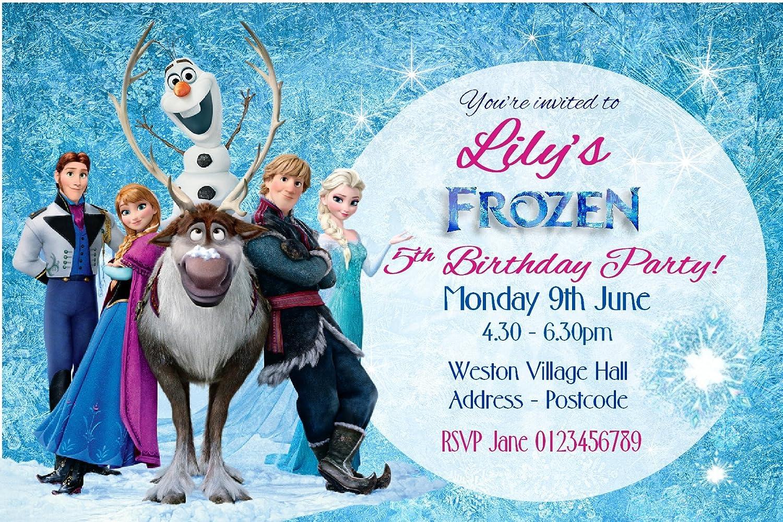 Personalised Frozen Birthday Party Invitations Glitter Finish X10