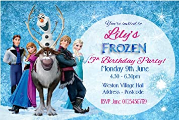 Personalised Frozen Birthday Party Invitations Glitter Finish X10