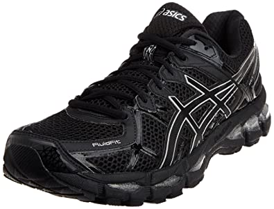 ASICS Men's Gel-Kayano 21 Onyx, Black and Silver Mesh Running Shoes - 13
