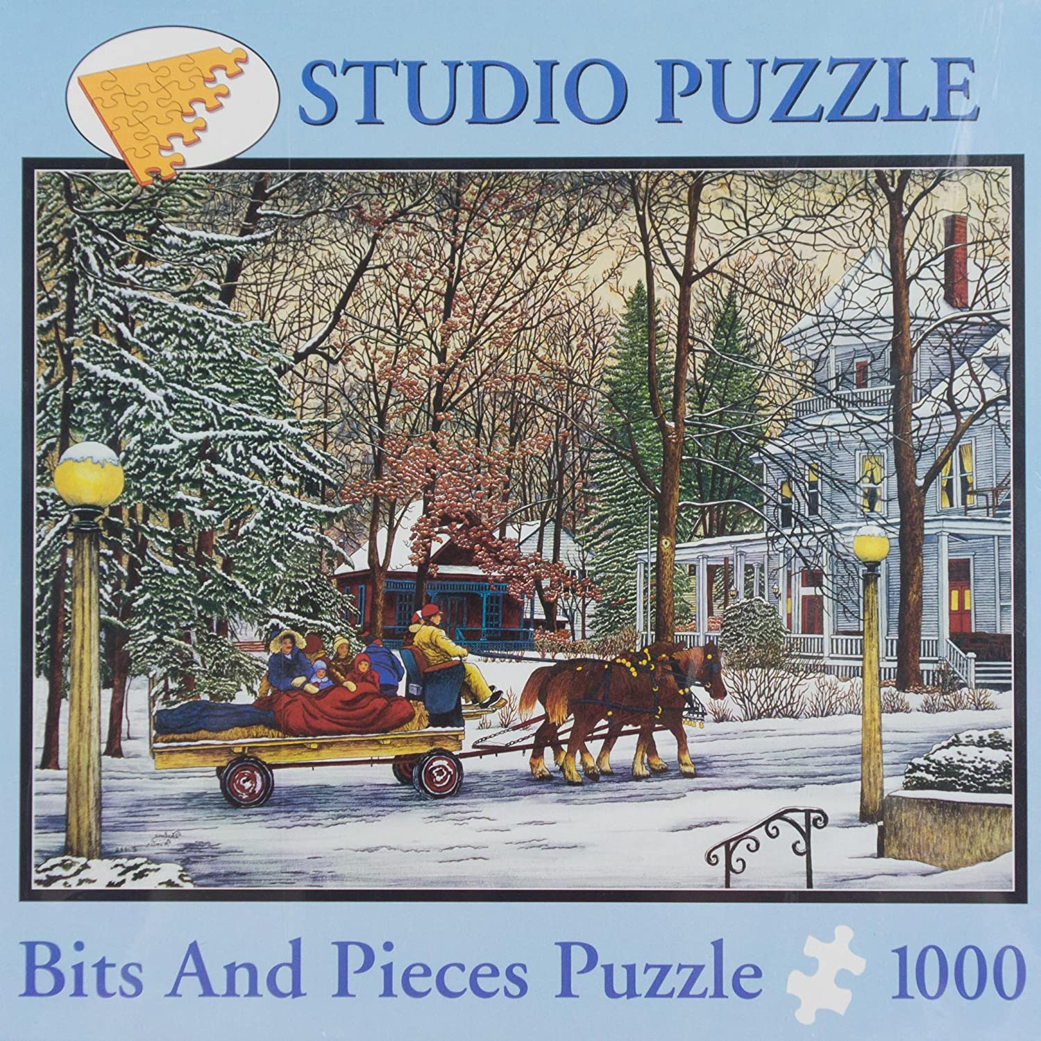 Studio Puzzle Bits and Pieces 1000pc Puzzle Thelma Winter Riding in a Winter Wonderland