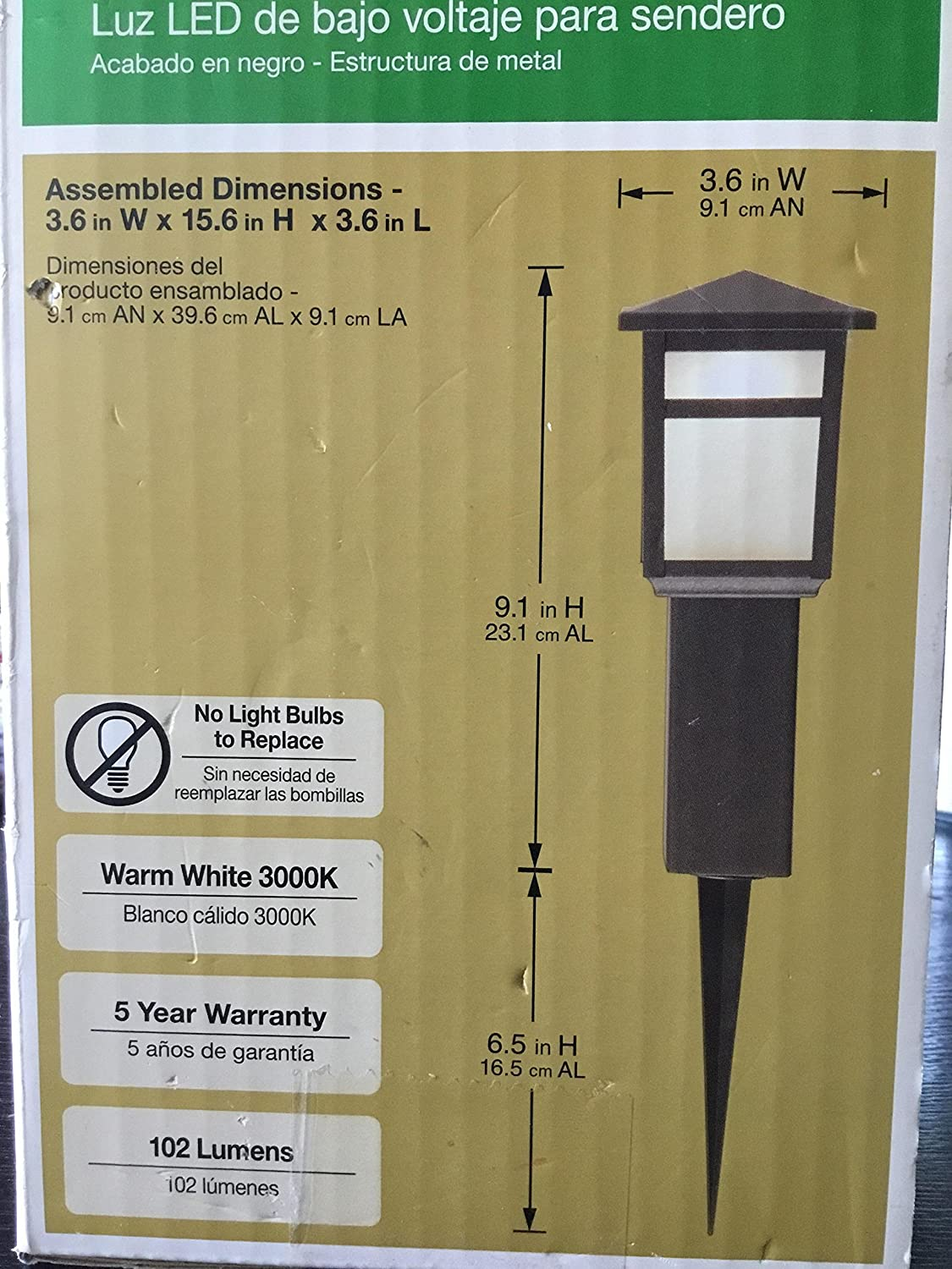Amazon.com : Hampton Bay Low-Voltage Black Square Integrated LED Outdoor Bollard Path Light : Garden & Outdoor