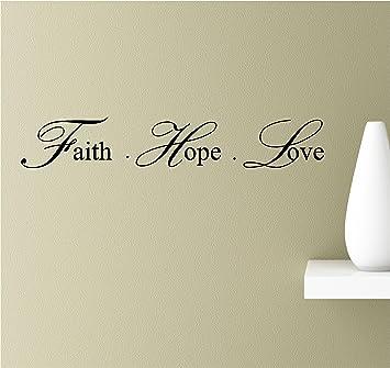 Faith Hope Love Vinyl Wall Art Inspirational Quotes Decal Sticker & Amazon.com: Faith Hope Love Vinyl Wall Art Inspirational Quotes ...
