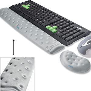 BRILA Memory Foam Mouse & Keyboard Wrist Rest Support Pad Cushion Set for Computer, Laptop, Office Work, PC Gaming - Massage Holes Design - Easy Typing Wrist Pain Relief (Grey Bundle)