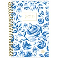 "bloom daily planners 2019 Calendar Year Day Planner - Passion/Goal Organizer - Monthly and Weekly Dated Agenda Book - (January 2019 - December 2019) - 6"" x 8.25"" - Blue & White Floral"