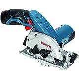 Bosch Professional GKS 12V-26 Akku-Kreissäge (2 x Akku GBA 12V 2,5 Ah, Absaugadapter, L-BOXX 136, Schnellladegerät GAL 1230 CV) 0 601 6A1 003