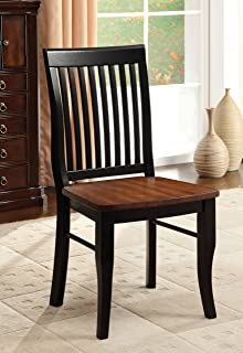 b5d71f3bd640 Furniture of America Charleston Mission Style Dining Chair, Antique Oak and  Black, Set of