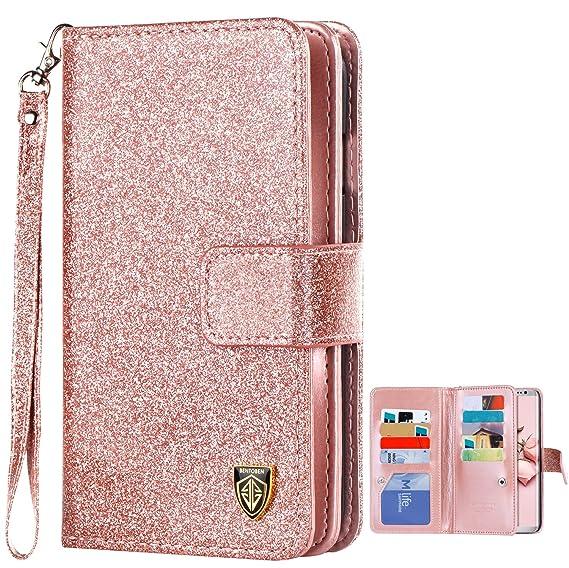 f6b8f135efb9 S8 Plus Case Samsung Galaxy S8 Plus Case BENTOBEN Glitter Luxury Bling Faux  Leather Flip Credit